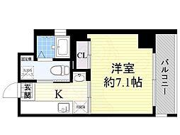 Osaka Metro中央線 朝潮橋駅 徒歩2分の賃貸マンション 6階1Kの間取り