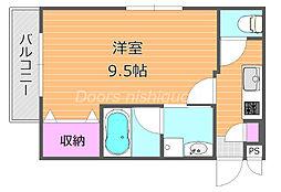 JR宇野線 大元駅 徒歩13分の賃貸マンション 3階1Kの間取り