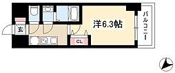 アステリ鶴舞エーナ 10階1Kの間取り