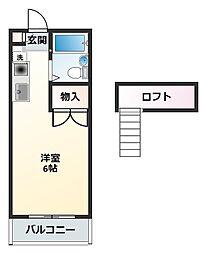 コテージ戸塚(コテージトツカ)[2階]の間取り