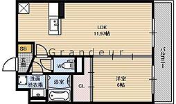 クレールK 2階1LDKの間取り