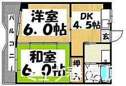 福岡県春日市春日公園7丁目の賃貸マンションの間取り