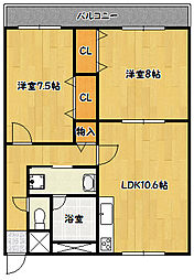 兵庫県神戸市北区鈴蘭台西町2丁目の賃貸マンションの間取り