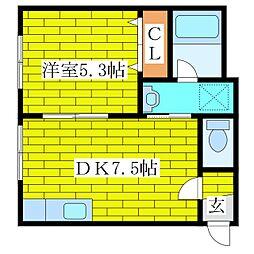 ケイズ平岡[3階]の間取り