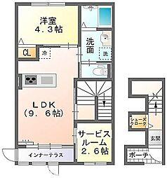 大阪府枚方市楠葉中之芝2丁目の賃貸アパートの間取り