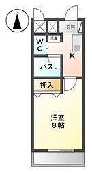 愛知県日進市岩崎町大塚の賃貸マンションの間取り