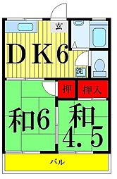第二タウンコーポ浅田[202号室]の間取り