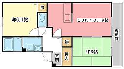 兵庫県姫路市北平野3丁目の賃貸アパートの間取り
