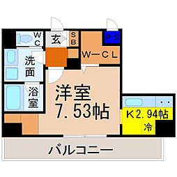 K Smart Kanayama(ケイスマートカナヤマ) 7階1Kの間取り