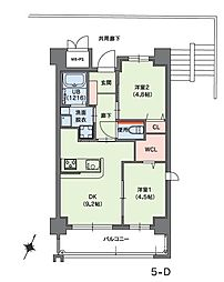 クラシオン小笹山手5番館 1階2DKの間取り