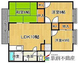 西鉄貝塚線 三苫駅 徒歩11分の賃貸アパート 1階3LDKの間取り