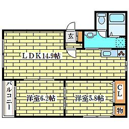 アービス新富II[2階]の間取り