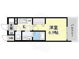 おおさか東線 JR淡路駅 徒歩2分の賃貸マンション 9階1Kの間取り