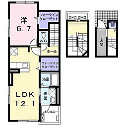 西鉄天神大牟田線 津福駅 徒歩12分の賃貸アパート 3階1LDKの間取り