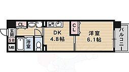 Osaka Metro谷町線 都島駅 徒歩8分の賃貸マンション 3階1DKの間取り