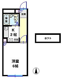ドリームハウス下植木B[212号室]の間取り