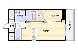 Osaka Metro谷町線 出戸駅 徒歩3分の賃貸マンション 3階1LDKの間取り