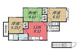 千葉県成田市吉岡の賃貸アパートの間取り