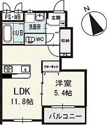 エクシードK 1階[102号室]の間取り