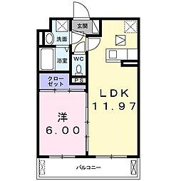 JR片町線(学研都市線) 鴻池新田駅 徒歩17分の賃貸アパート 3階1LDKの間取り