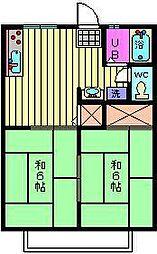 埼玉県さいたま市南区曲本3丁目の賃貸アパートの間取り