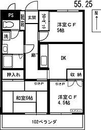 金子コーポ 3階3DKの間取り