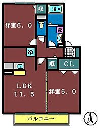 ソレーユ津田沼[102号室]の間取り