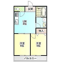 小田原市小船アパートB棟[302号室]の間取り