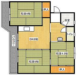 ビレッジハウス飯塚 2号棟[403号室]の間取り