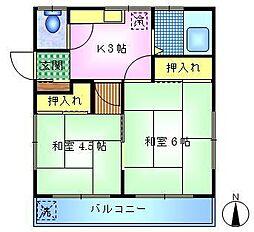竹田ハウスB[2階]の間取り