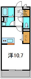 Osaka Metro谷町線 大日駅 徒歩15分の賃貸アパート 3階ワンルームの間取り