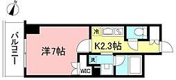 プライムメゾン初台 11階1Kの間取り