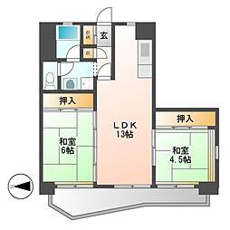 中駒九番団地8号棟[7階]の間取り