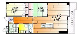 リバーサイド千里丘[3階]の間取り
