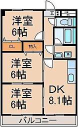 東京都あきる野市原小宮の賃貸アパートの間取り