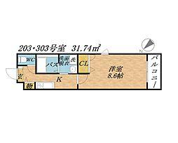 ディアクオーレ鴫野[2階]の間取り