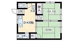 中島文化 2階2DKの間取り