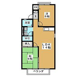 プリシェール東神田 B[2階]の間取り