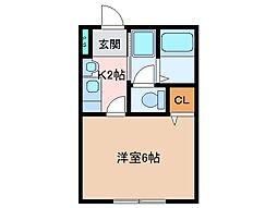 三重県松阪市新町の賃貸アパートの間取り