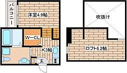 阪神本線 新在家駅 徒歩5分の賃貸アパート 1階1Kの間取り