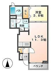 ラ・ミアカーサA[1階]の間取り