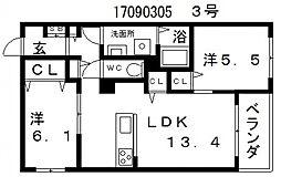 シャーメゾン沢之町[3階]の間取り