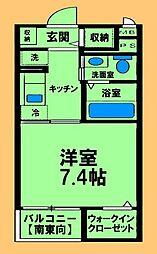 JR横浜線 橋本駅 徒歩12分の賃貸マンション 4階1Kの間取り