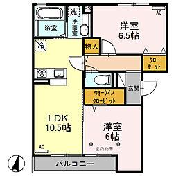 (仮)D-room荒牧町[202号室]の間取り