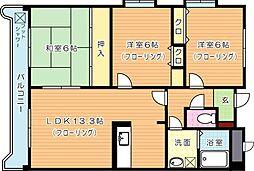 穴生ペットマンション[2階]の間取り