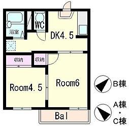 西矢倉ハイツB棟[1階]の間取り