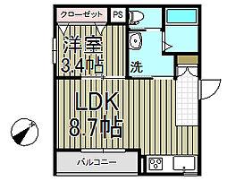 トワーニ北鎌倉[1B号室]の間取り