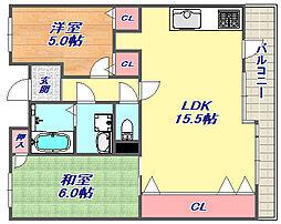 メゾンドカスカード六甲 5階2LDKの間取り