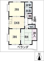 パークサイド栗矢田[3階]の間取り