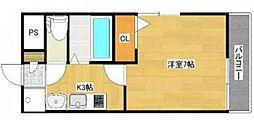 JR山陽本線 岡山駅 徒歩14分の賃貸アパート 2階1Kの間取り